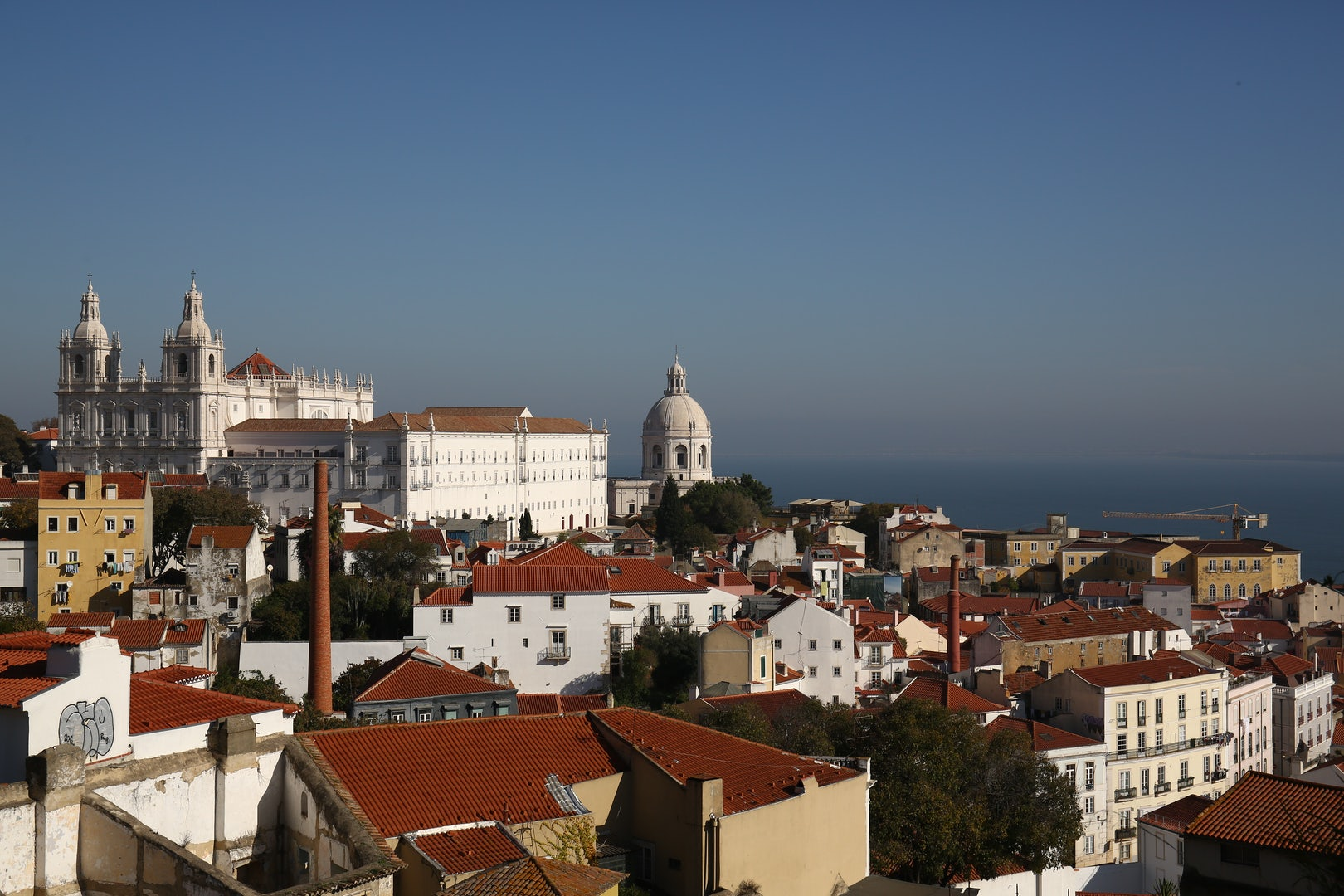 the Castelo de Sao Jorge and roofs of Lisbon