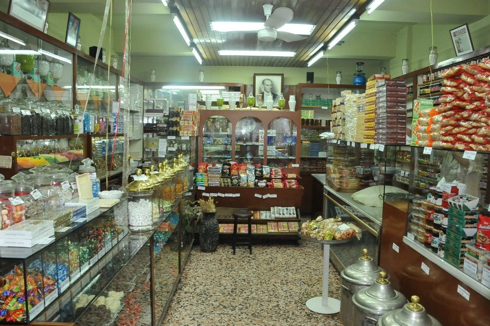 interior of Turkish candy store Uc Yildiz