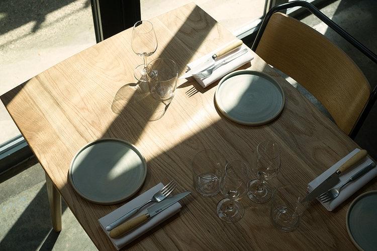 set table at Bright restaurant