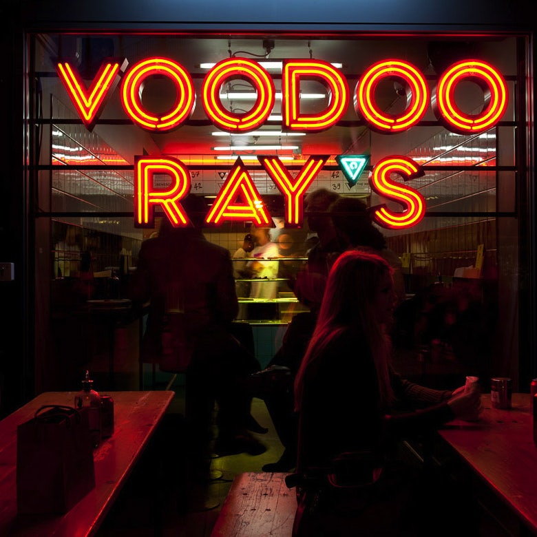 neon sign of Voodoo Ray's
