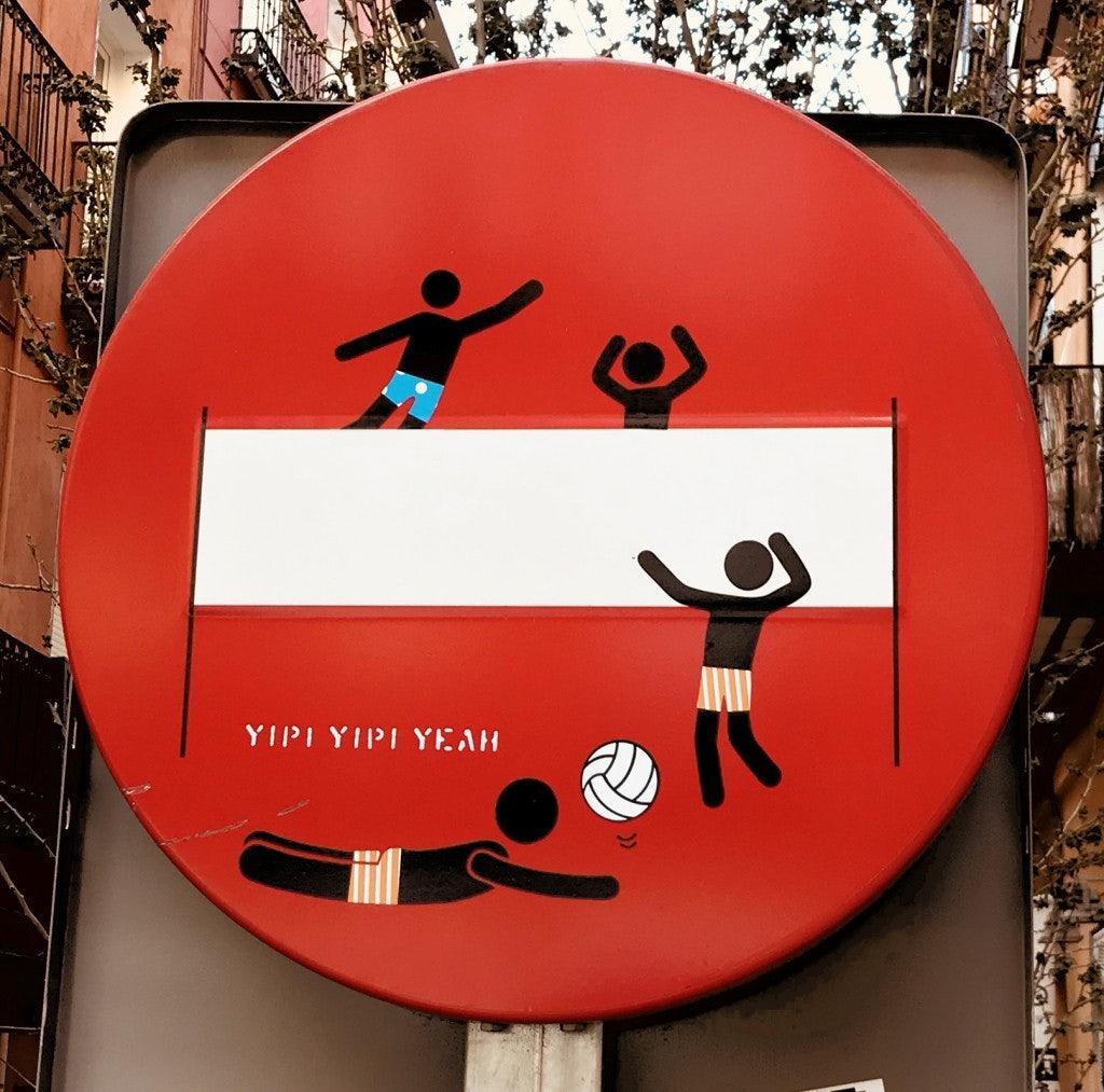 street art traffic sign