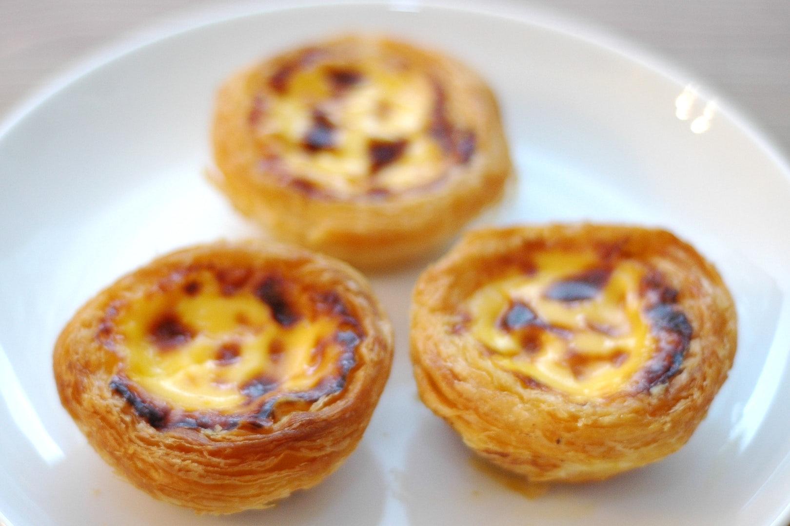 three pasteis de nata from Pastelaria Cristal