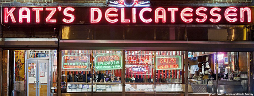 neon sign Katz's Delicatessen