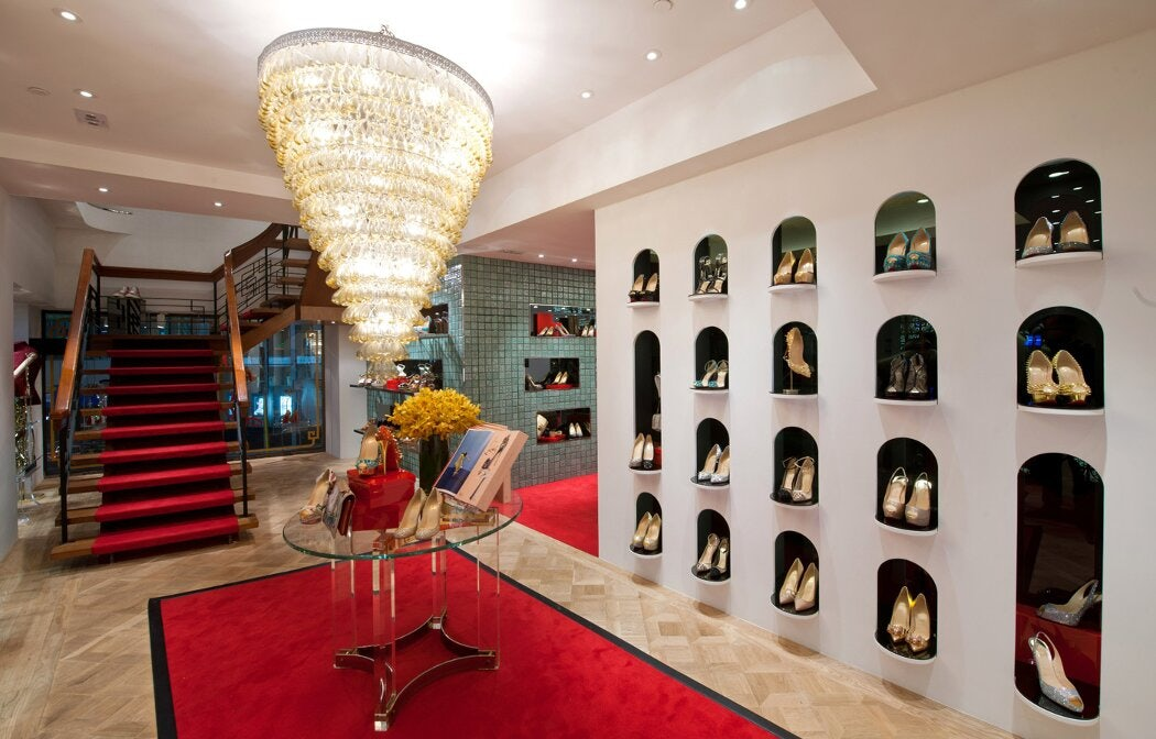interior of Christian Louboutin store in NYC