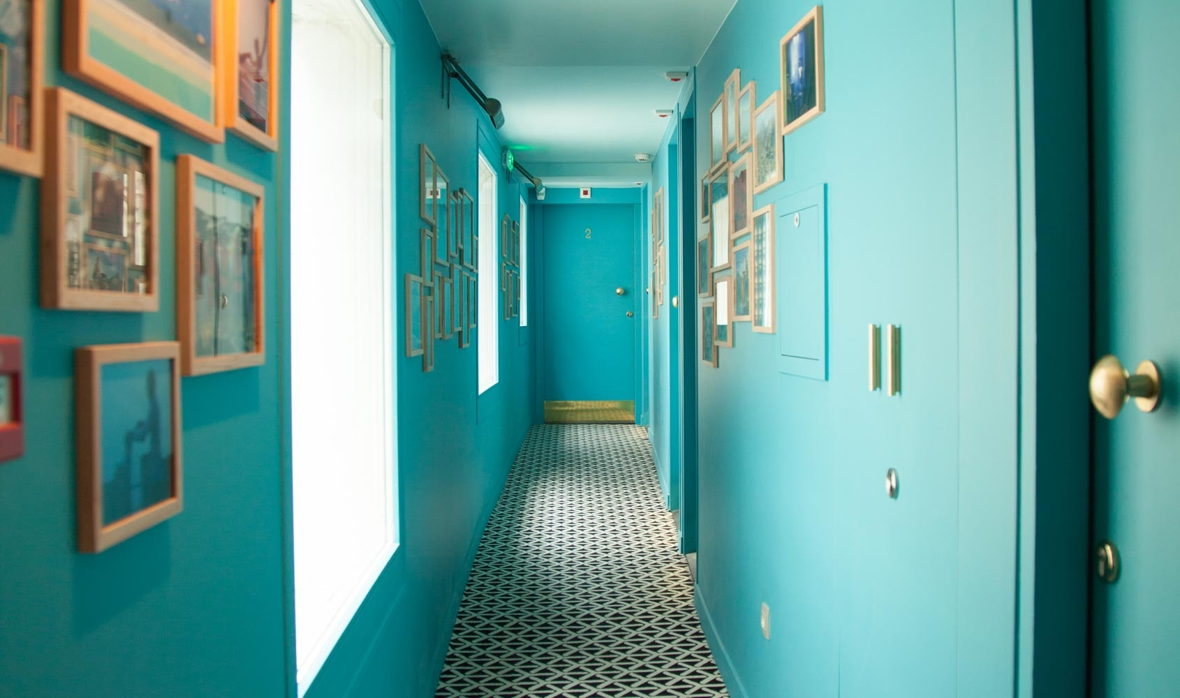 blue hallway at Edgar