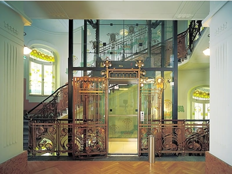 art nouveau style elevator at Hotel Central