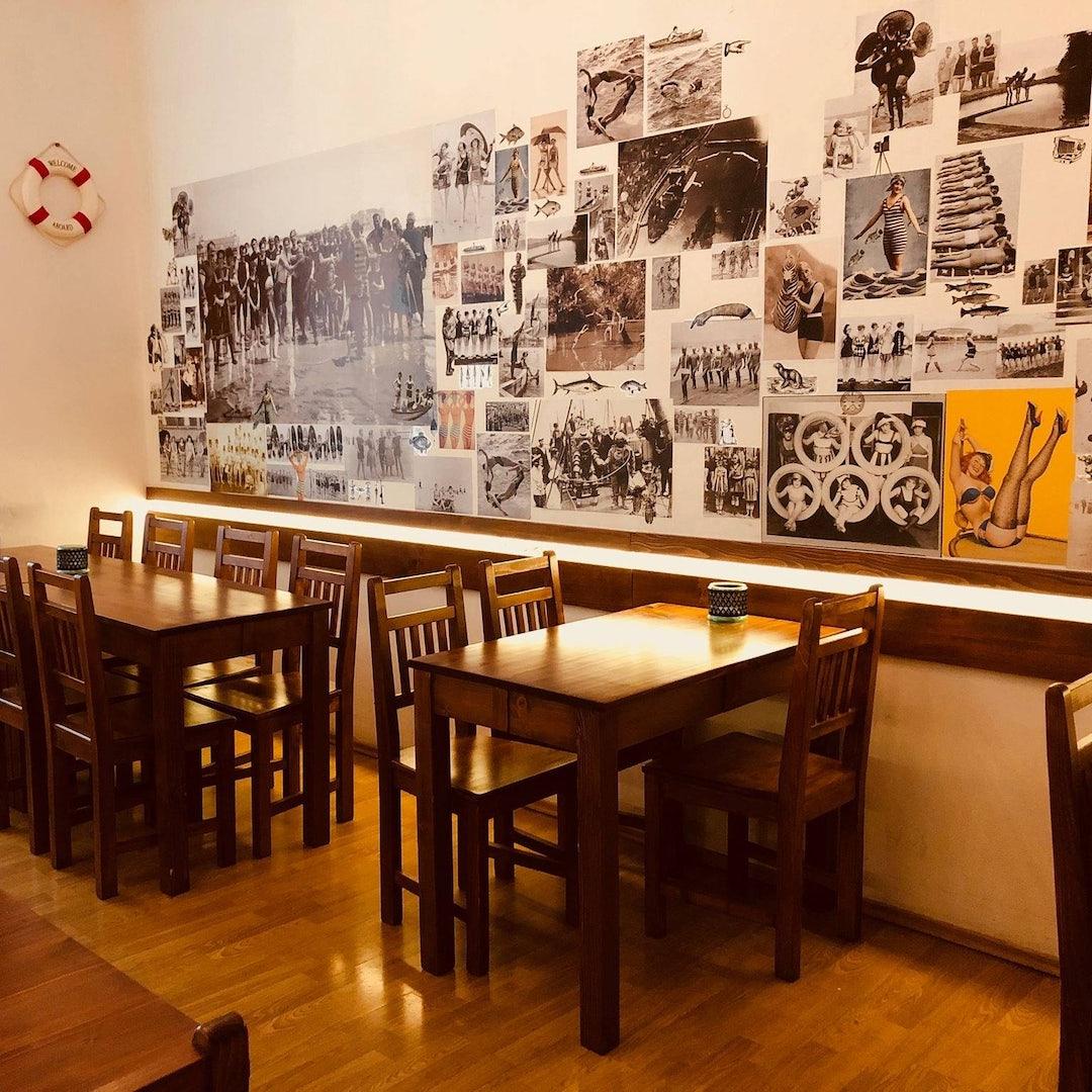 restaurant interior of Vinarna Naplavni in Prague