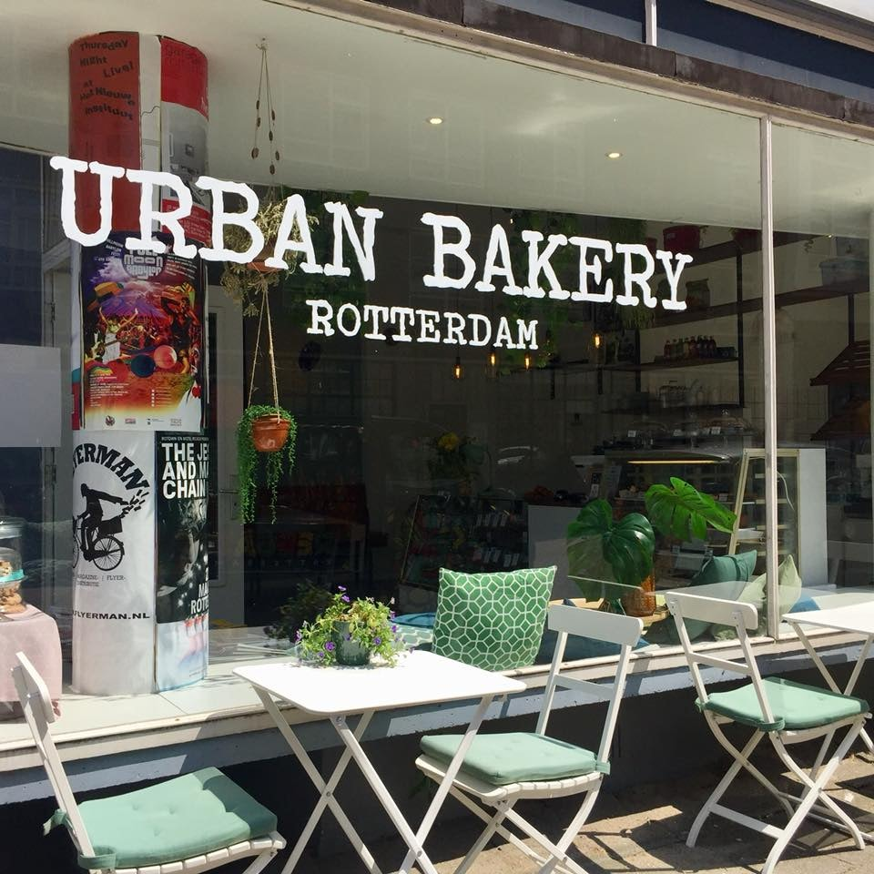 terrace and window of Urban Bakery