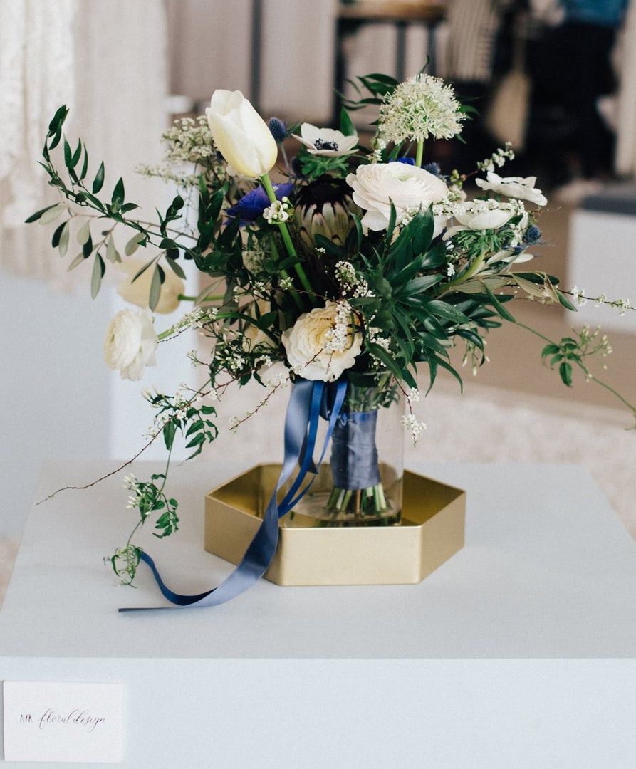 white and blue bouquet from MK Floral Design