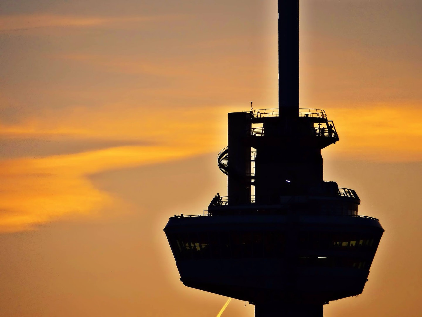 Euromast against an orange sky
