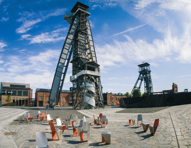 chairs and extraction towers at the C-Mine