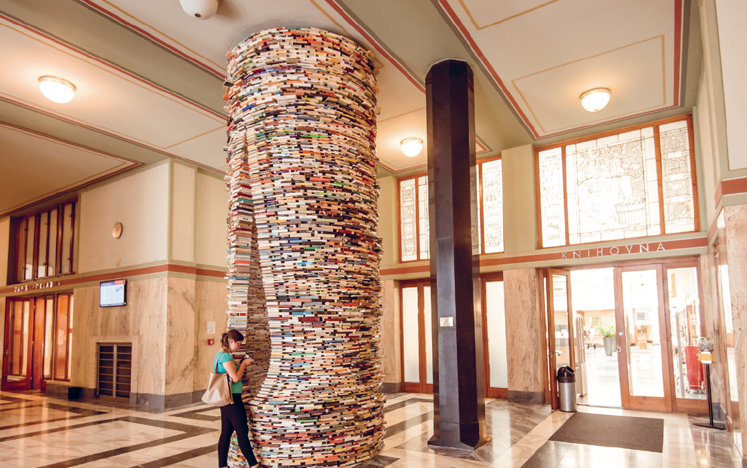 towers of books at Municipal Library