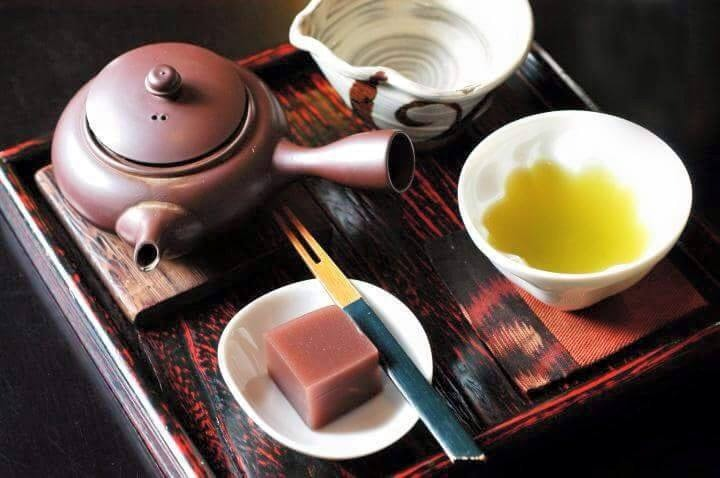 a tray with a pot and cup of Japanese tea from Cha Cha Kobo
