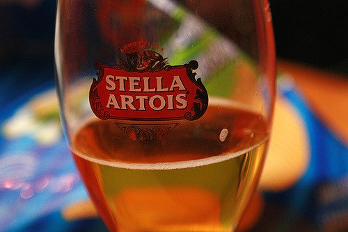a glass of Stella Artois beer