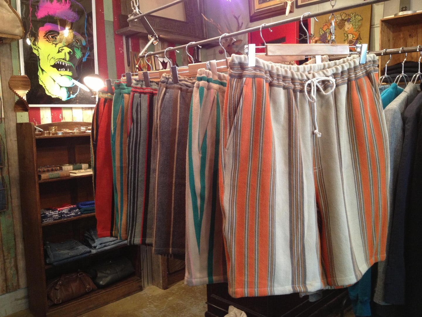 five striped and colourful short displayed in Lemontea store
