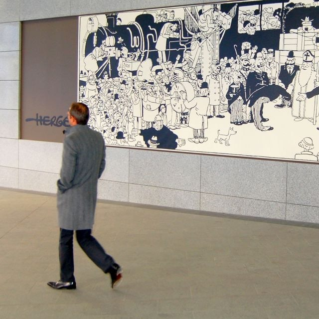 mural of Tintin at Garde du Luxembourg