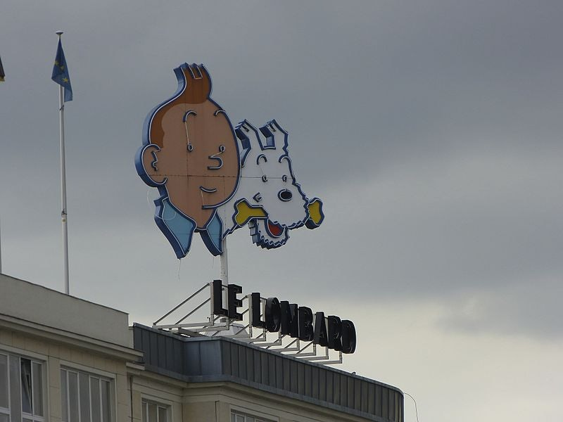 Tintin et Milou on top of Le Lombard