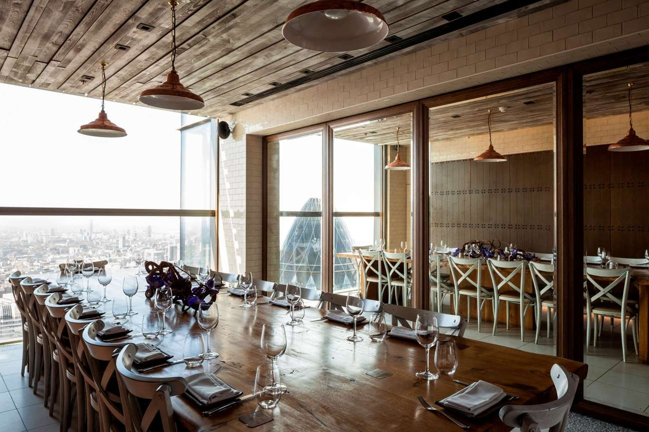 interior and view at Duck & Waffle restaurant