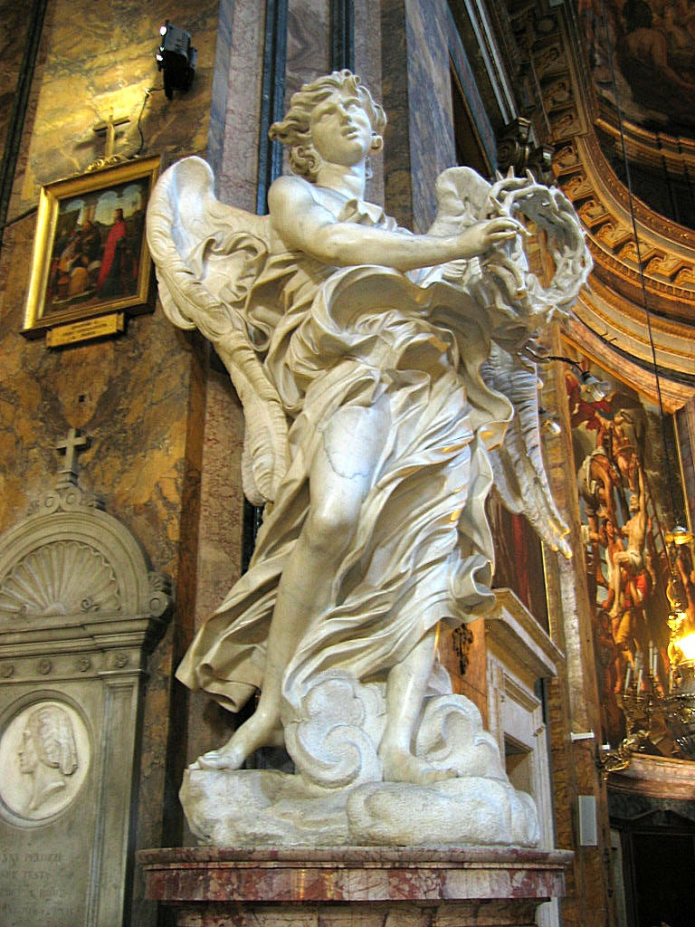 one of Bernini's angels at Basilica of Sant' Andrea delle Fratte
