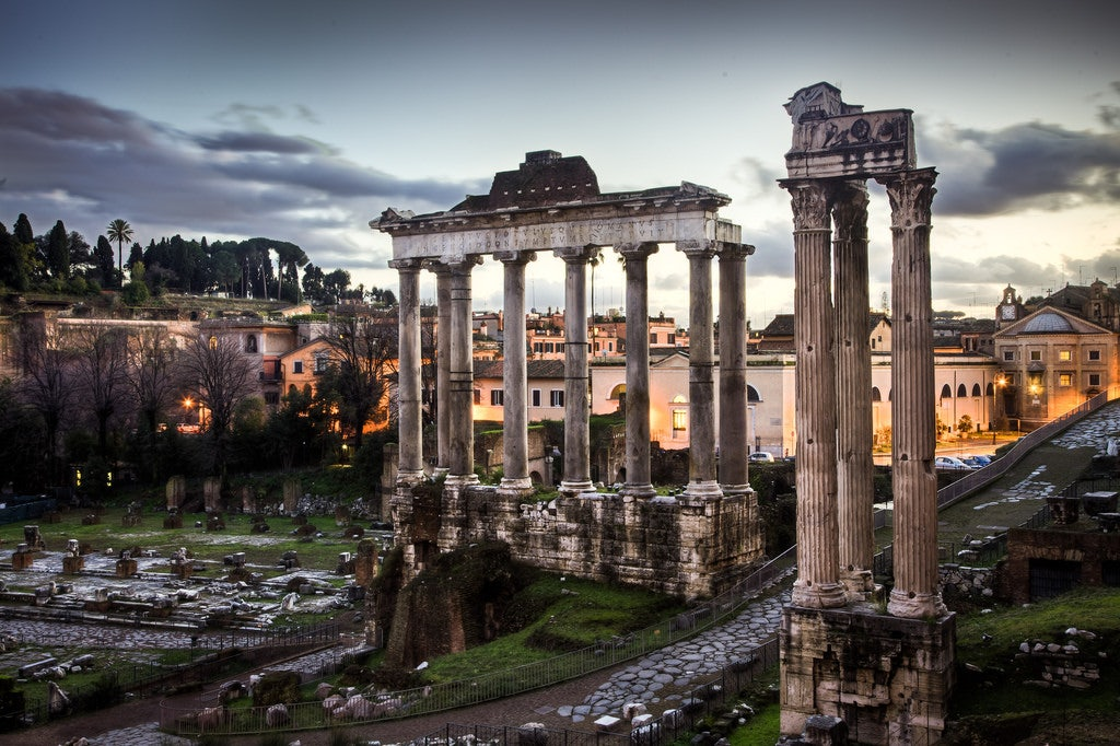 View at dusk of the Roman Forum