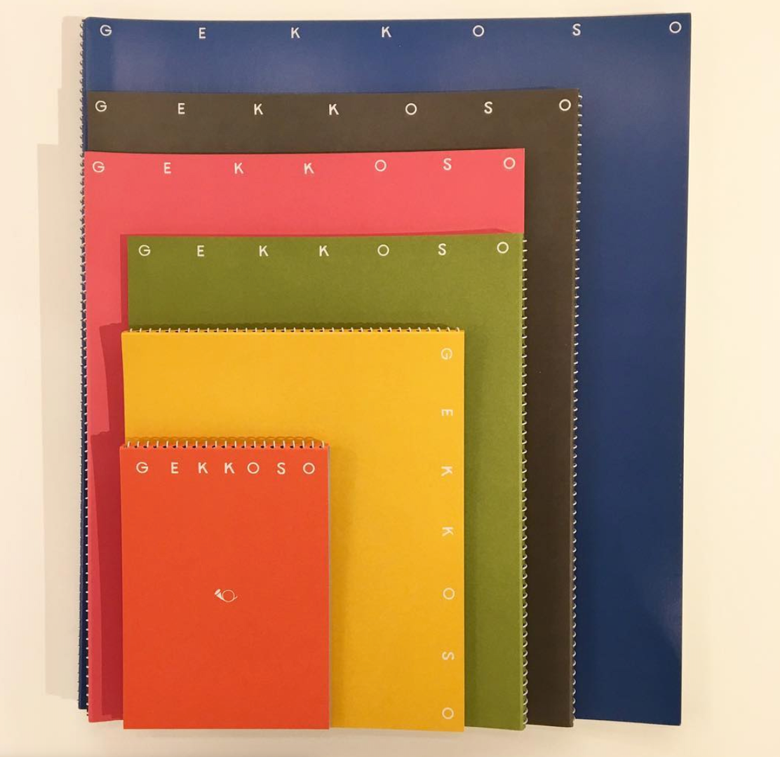 six notebooks of Gekkoso in different colours and sizes