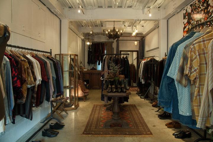men's clothing displayed at Velvet Vintage store in Tokyo