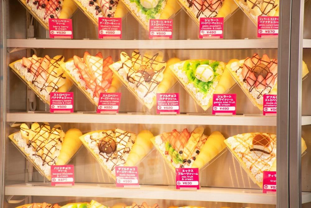 twelve different kinds of crepes at Krepu Tokyo