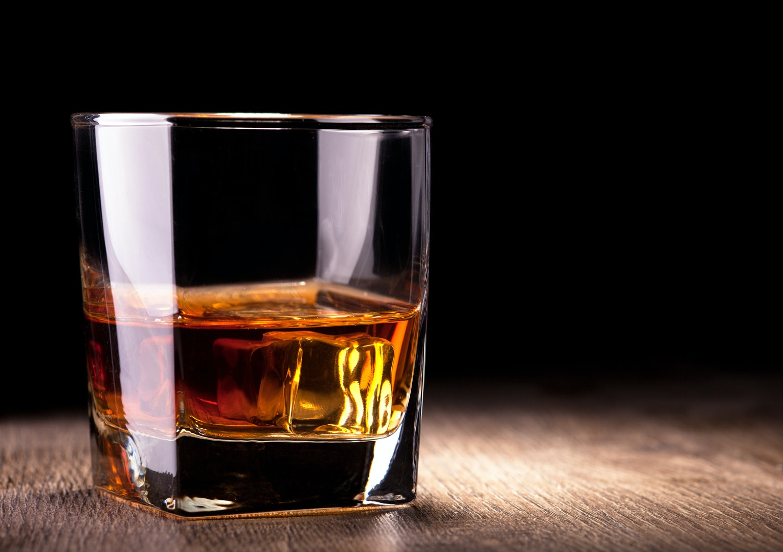 a glass of whiskey