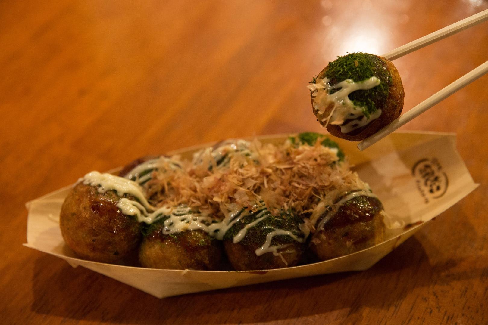 Tako-yaki snack in the shape of balls
