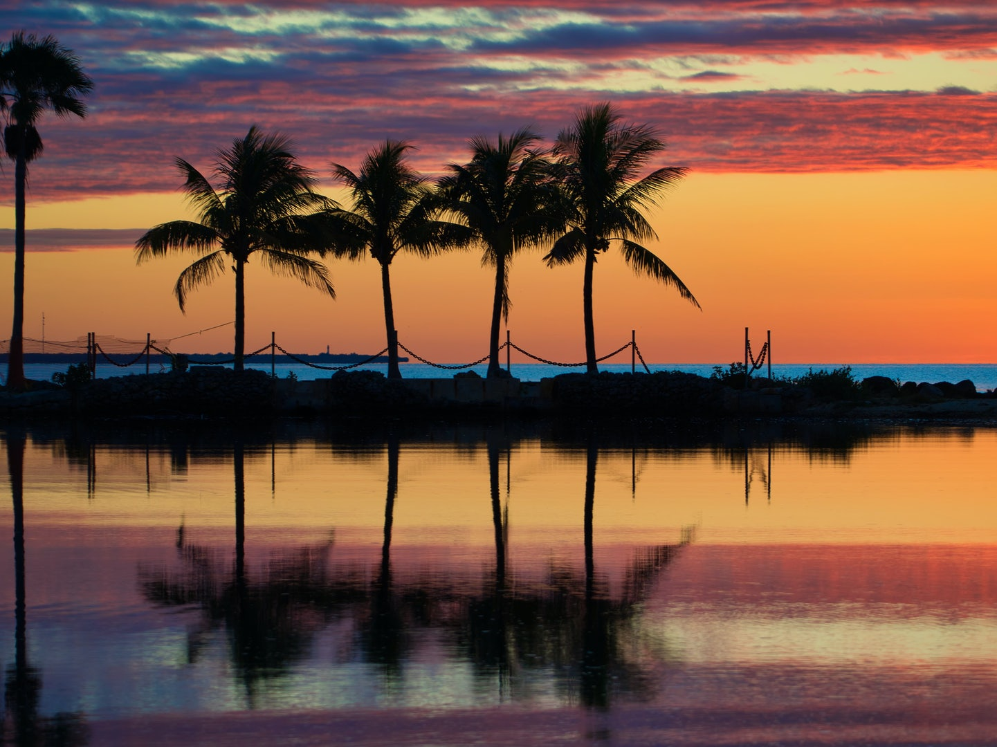view of colorful sunset at the Matheson Hammock Park