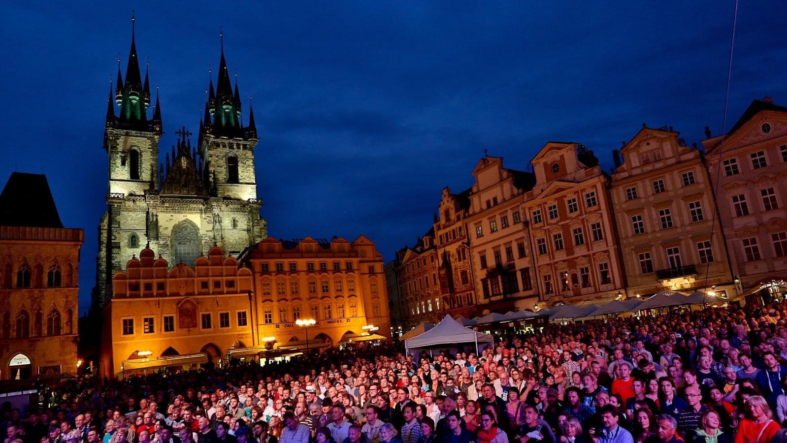 Prague - Bohemia Jazz Fest crowd on Old Town Square