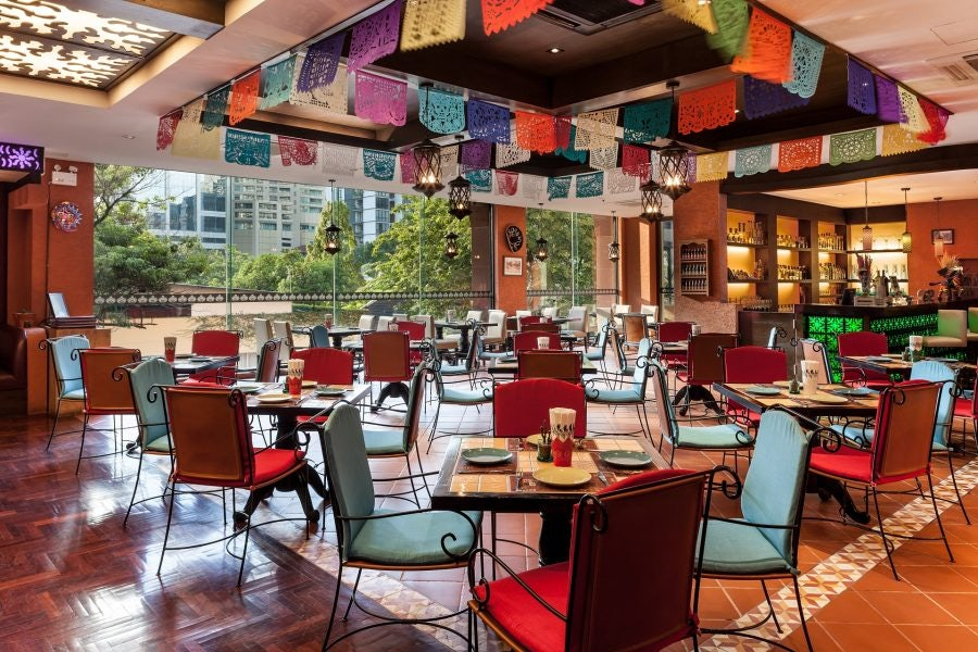 colourful interior of Mexicano restaurant