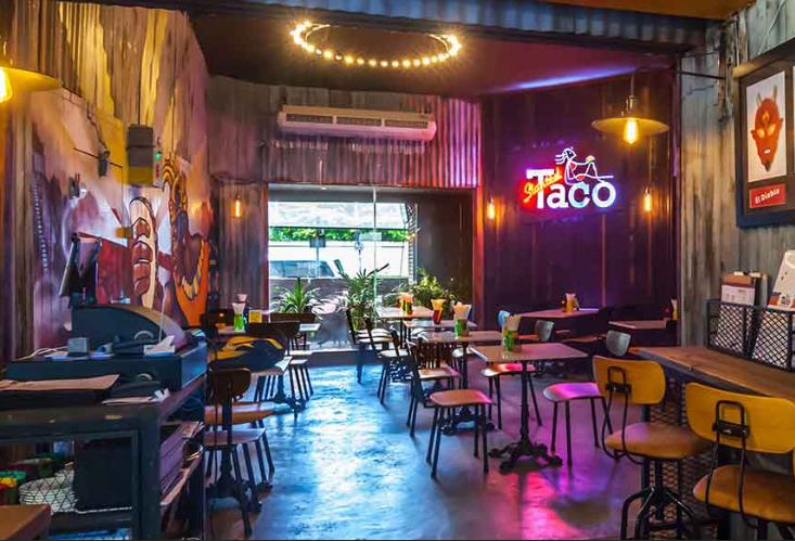 restaurant interior of The Slanted Taco