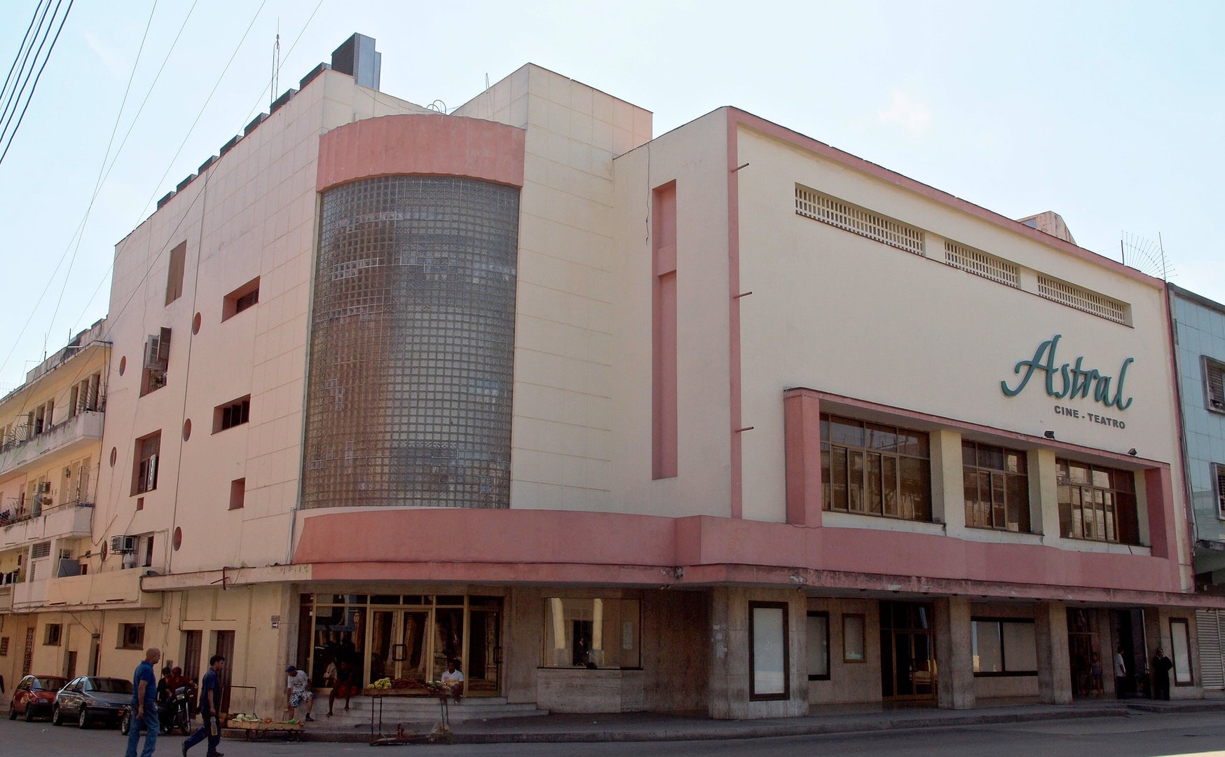 pink art deco building of Cine Astral