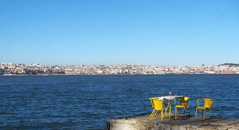 view over Lisbon from Cais do Ginjal