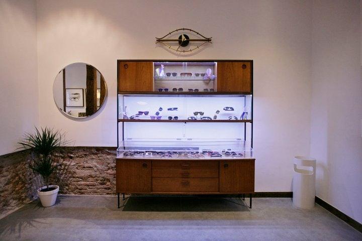 glasses in display at Optica Caribou