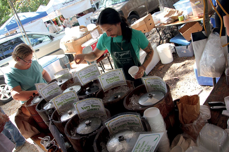 people selling ice cream at Coconut Grove Farmers Market