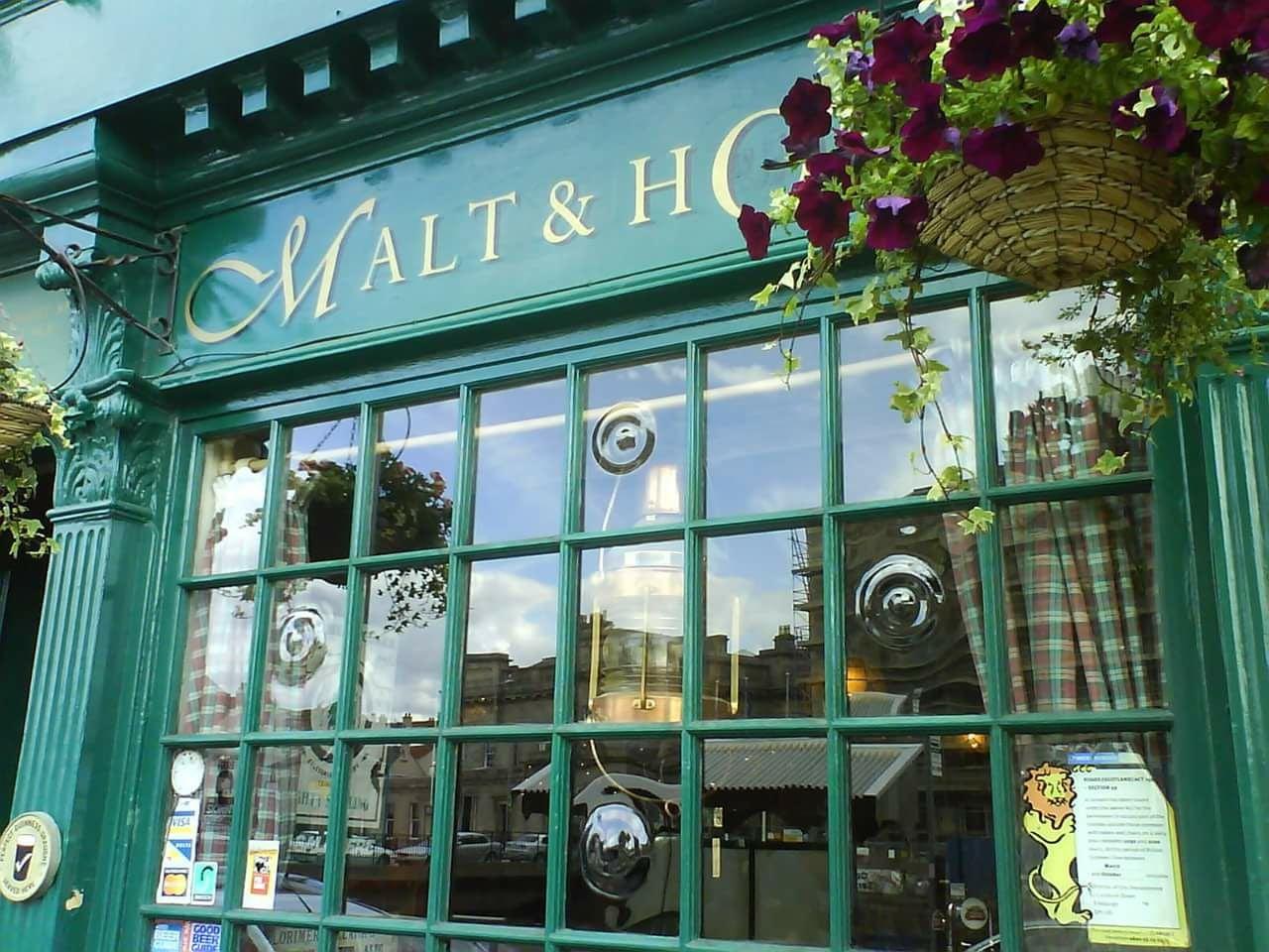 green window Malt & Hops in Edinburgh