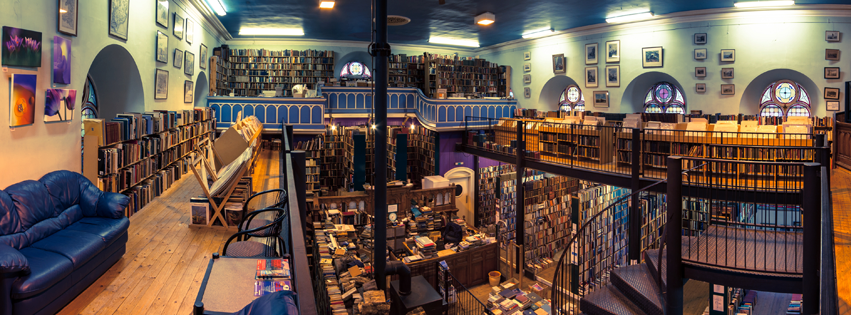 interior of Leakey's bookshop in Edinburgh