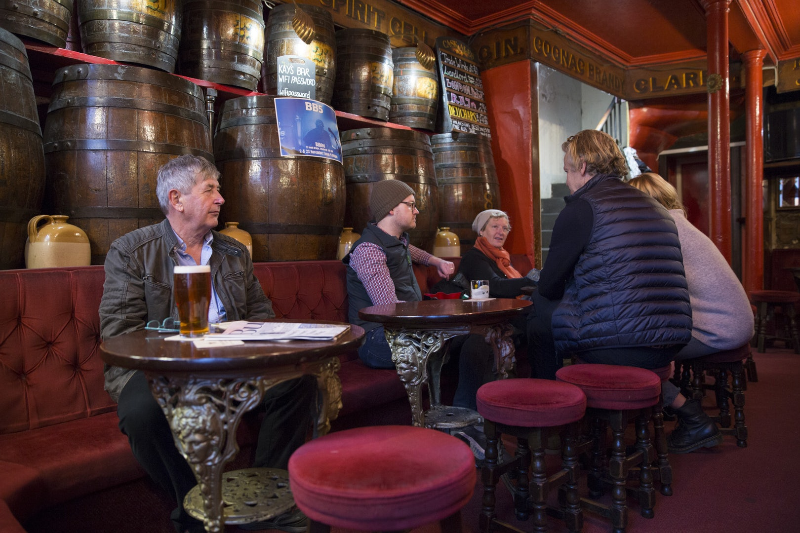 people having a beer at Kay's Bar local pub