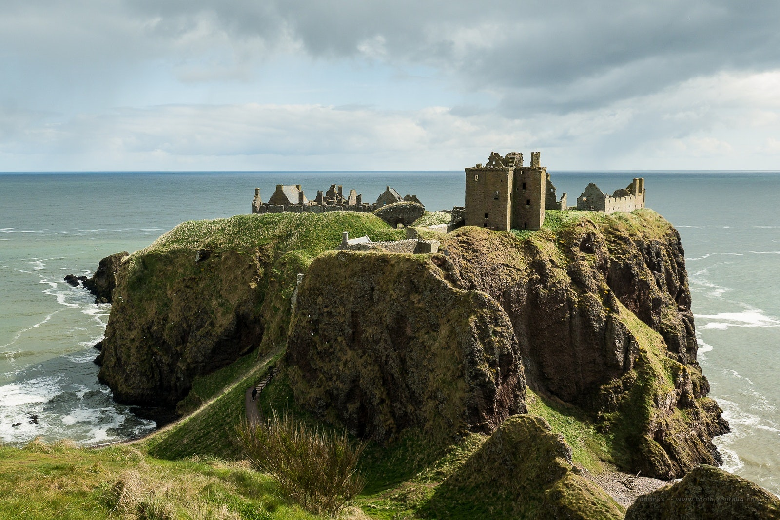 abandoned Dunnottar Castle view from cliff in Scotland