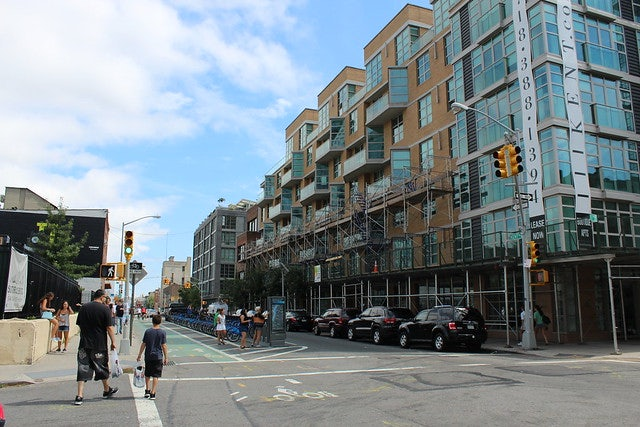 a street and buildings in Williamsburg new york