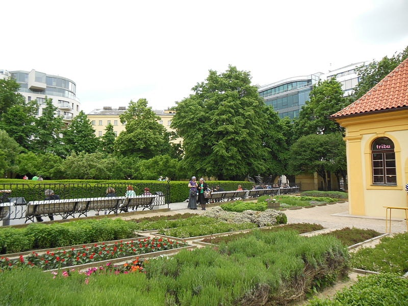 people at the Franciscan Garden in Prague