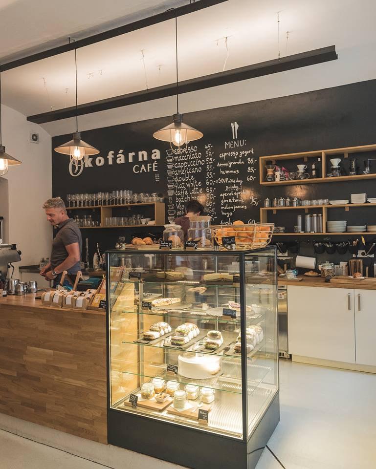 counter and food display at Kofárna café