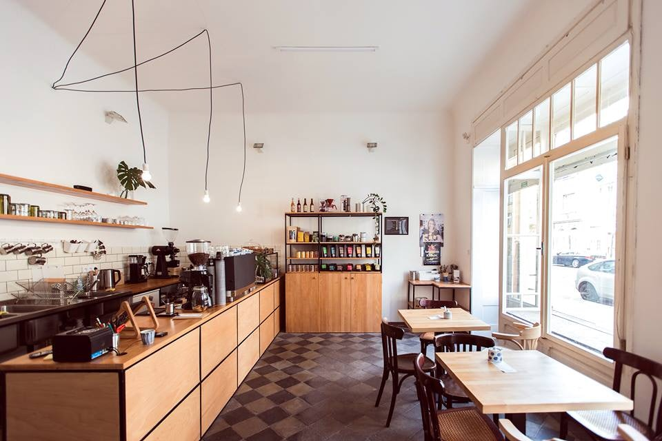 interior of coffee bar Mama Coffee