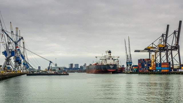 view of the Waalhaven port in Rotterdam
