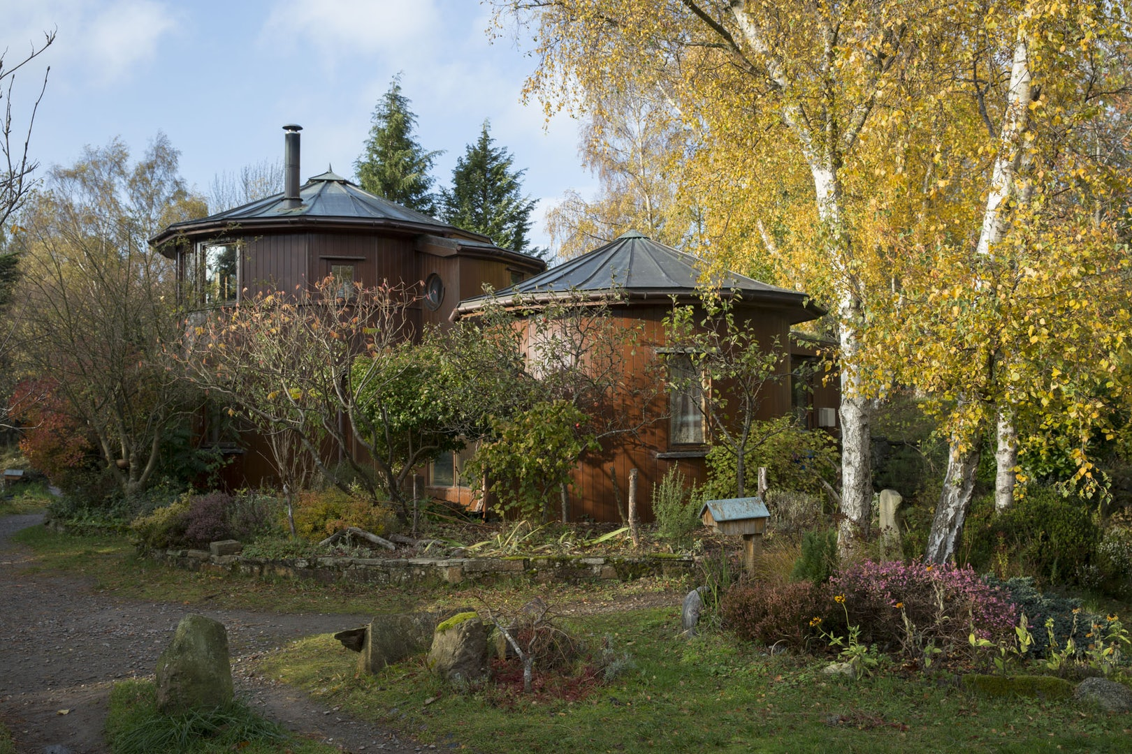two huts at the The Barrel B&B in Findhorn Scotland