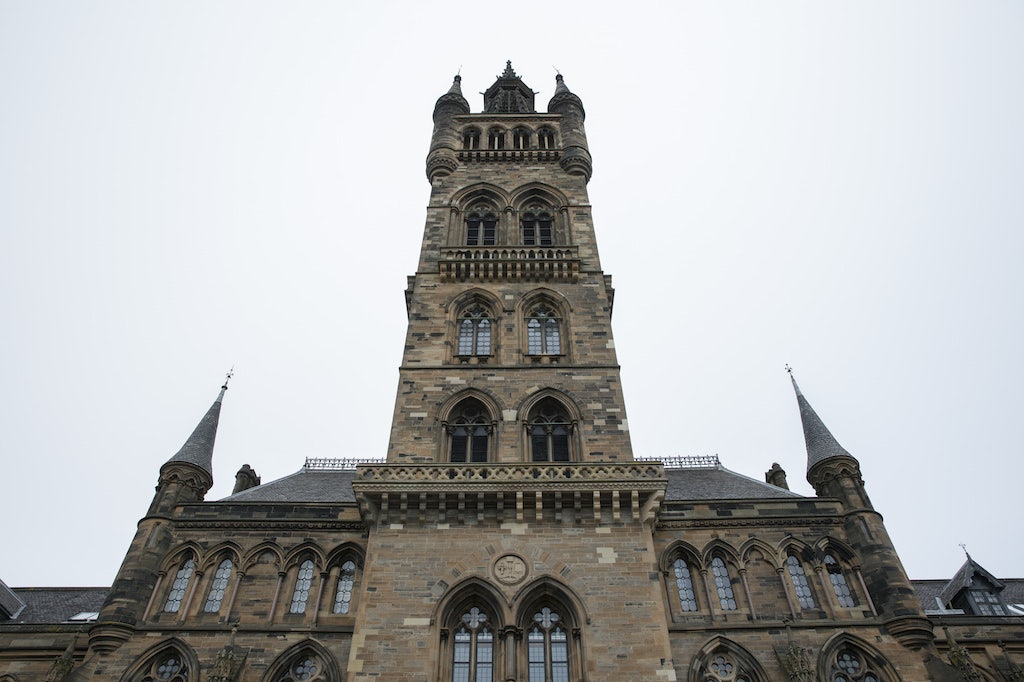 tower at the University of Glasgow in Scotland