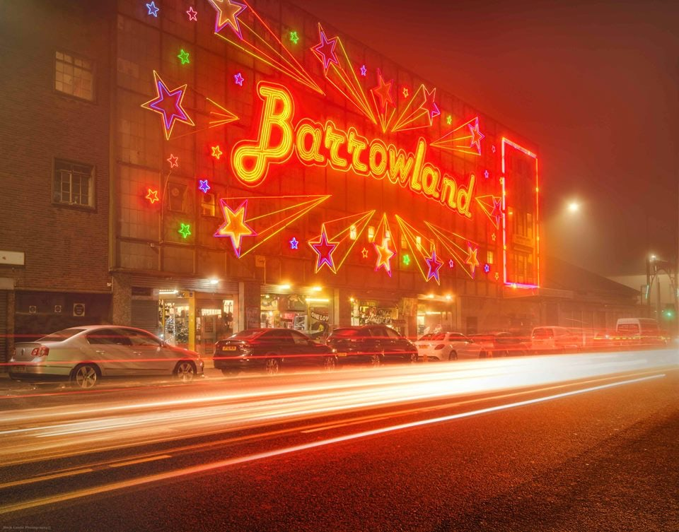 big red neon sign of the Barrowland Ballroom in Glasgow