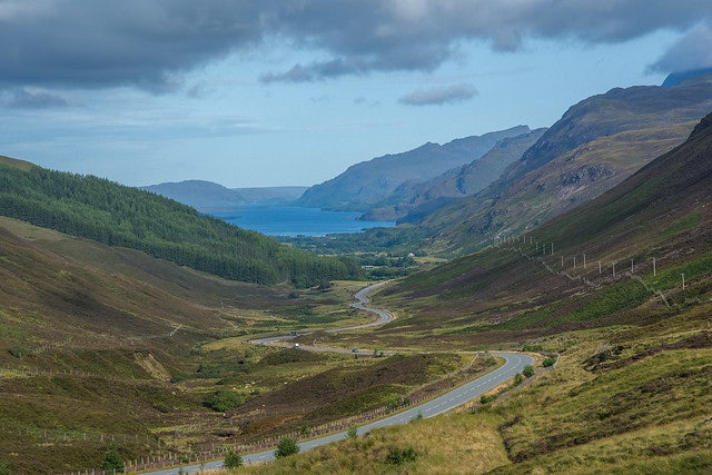 view over Kinlochewe and Loch Maree in Scotland